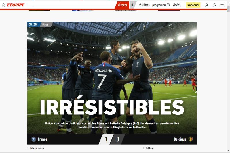 Jornais franceses 'enlouquecem' com classificação à final da Copa: 'Sonho cada vez menos maluco'