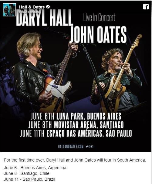 Daryl Hall & John Oates confirmam primeiro show no Brasil