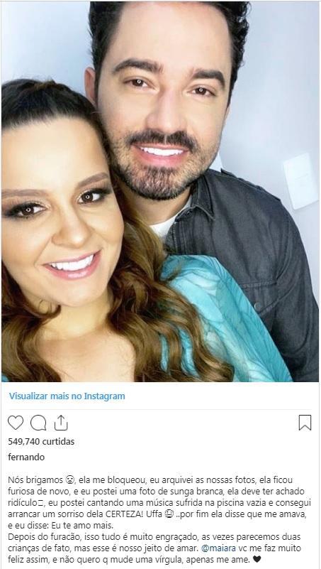 Fernando Zor descreve término de namoro com Maiara