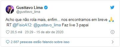 Gusttavo Lima diz que não fará mais lives