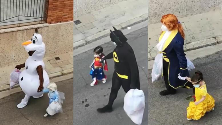 Na Espanha, pai e filha usam fantasias para levar o lixo durante o período de quarentena