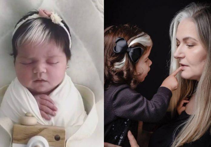 Mãe incentiva filha com mecha branca igual à dela